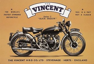 VINCENT BLACK SHADOW SERIES C LARGE METAL SIGNS