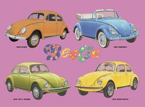 VOLKSWAGEN BEETLE COLLAGE LARGE METAL SIGNS