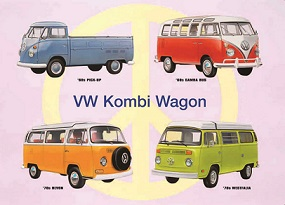 VOLKSWAGEN KOMBI WAGON COLLAGE LARGE METAL SIGNS