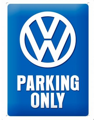 VOLKSWAGEN PARKING ONLY SMALL EMBOSSED METAL SIGNS