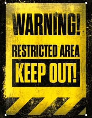 WARNING KEEP OUT RESTRICTED AREA SMALL EMBOSSED METAL SIGNS