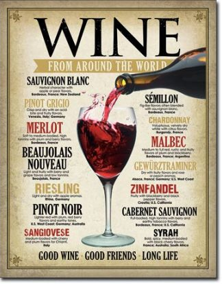 WINE FROM AROUND THE WORLD LARGE METAL SIGNS